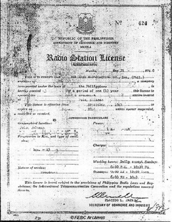 KZAS, FEBC's first radio license.