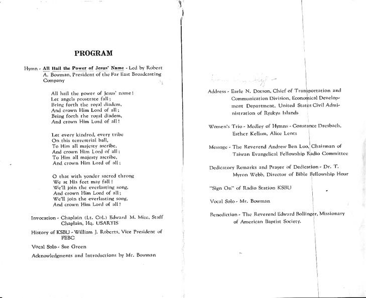 KSBU dedication program - cover   FEBC International Archive
