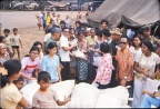 Distributing relief goods.